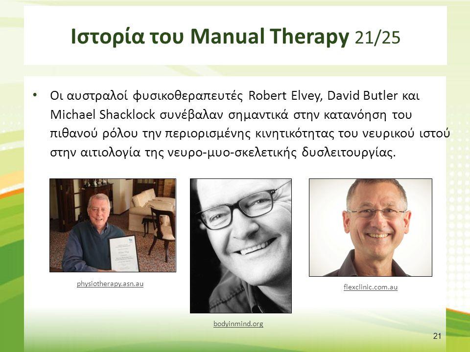 Ιστορία του Manual Therapy 21/25 Οι αυστραλοί φυσικοθεραπευτές Robert Elvey, David Butler και Michael Shacklock συνέβαλαν σημαντικά στην κατανόηση του