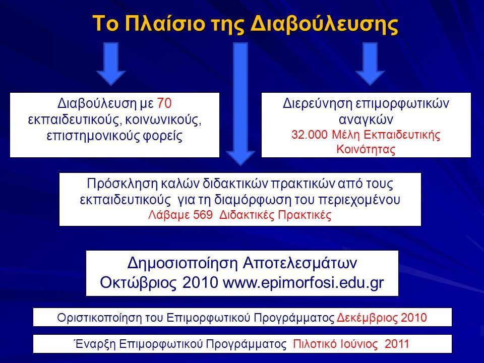 Το Πλαίσιο της Διαβούλευσης Το Πλαίσιο της Διαβούλευσης Διαβούλευση με 70 εκπαιδευτικούς, κοινωνικούς, επιστημονικούς φορείς Πρόσκληση καλών διδακτικών πρακτικών από τους εκπαιδευτικούς για τη διαμόρφωση του περιεχομένου Λάβαμε 569 Διδακτικές Πρακτικές Οριστικοποίηση του Επιμορφωτικού Προγράμματος Δεκέμβριος 2010 Δημοσιοποίηση Αποτελεσμάτων Οκτώβριος 2010 www.epimorfosi.edu.gr Έναρξη Επιμορφωτικού Προγράμματος Πιλοτικό Ιούνιος 2011 Διερεύνηση επιμορφωτικών αναγκών 32.000 Μέλη Εκπαιδευτικής Κοινότητας