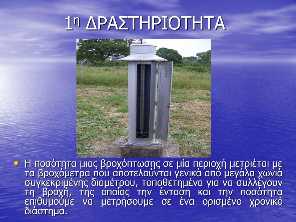 Βροχόμετρο Όργανο που χρησιμοποιείται για τον προσδιορισμό του ύψους του νερού της βροχής μέσα σε μια ορισμένη χρονική περίοδο (1 μήνα, 1 χρόνο κ.λπ.).