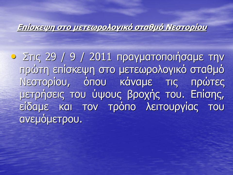 Επίσκεψη στο μετεωρολογικό σταθμό Νεστορίου Επίσκεψη στο μετεωρολογικό σταθμό Νεστορίου Στις 29 / 9 / 2011 πραγματοποιήσαμε την πρώτη επίσκεψη στο μετεωρολογικό σταθμό Νεστορίου, όπου κάναμε τις πρώτες μετρήσεις του ύψους βροχής του.