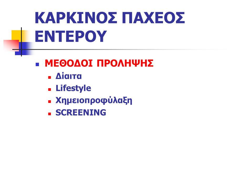 ΚΑΡΚΙΝΟΣ ΠΑΧΕΟΣ ΕΝΤΕΡΟΥ ΜΕΘΟΔΟΙ ΠΡΟΛΗΨΗΣ Δίαιτα Lifestyle Χημειοπροφύλαξη SCREENING