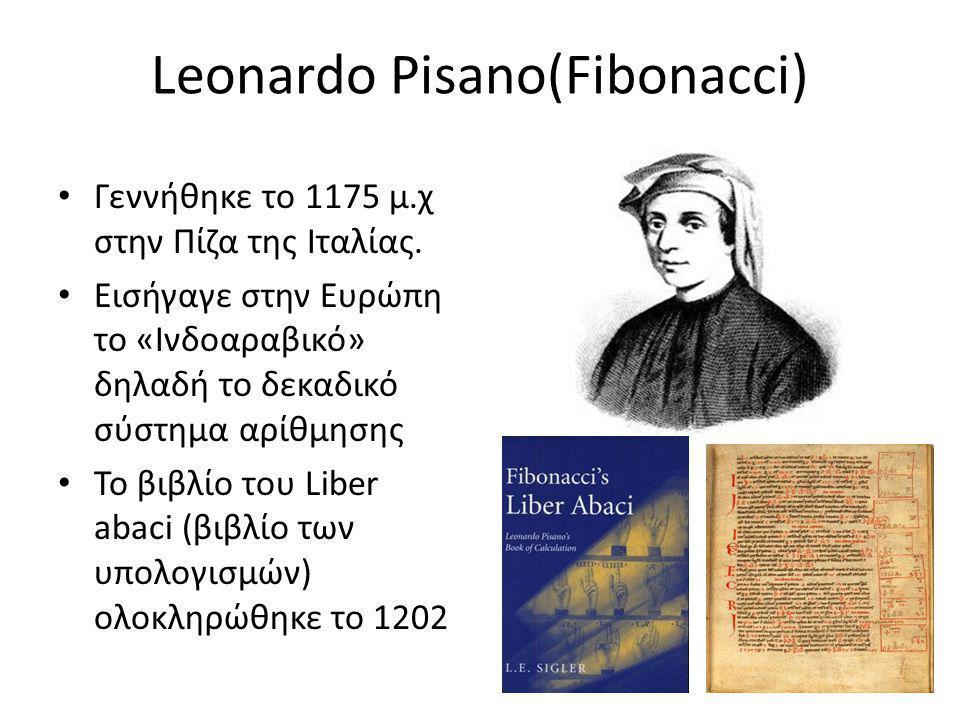 Leonardo Pisano(Fibonacci) Γεννήθηκε το 1175 μ.χ στην Πίζα της Ιταλίας.