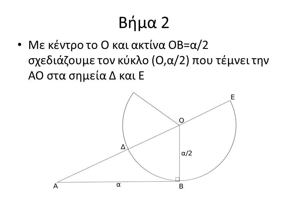 Βήμα 2 Με κέντρο το Ο και ακτίνα ΟΒ=α/2 σχεδιάζουμε τον κύκλο (Ο,α/2) που τέμνει την ΑΟ στα σημεία Δ και Ε