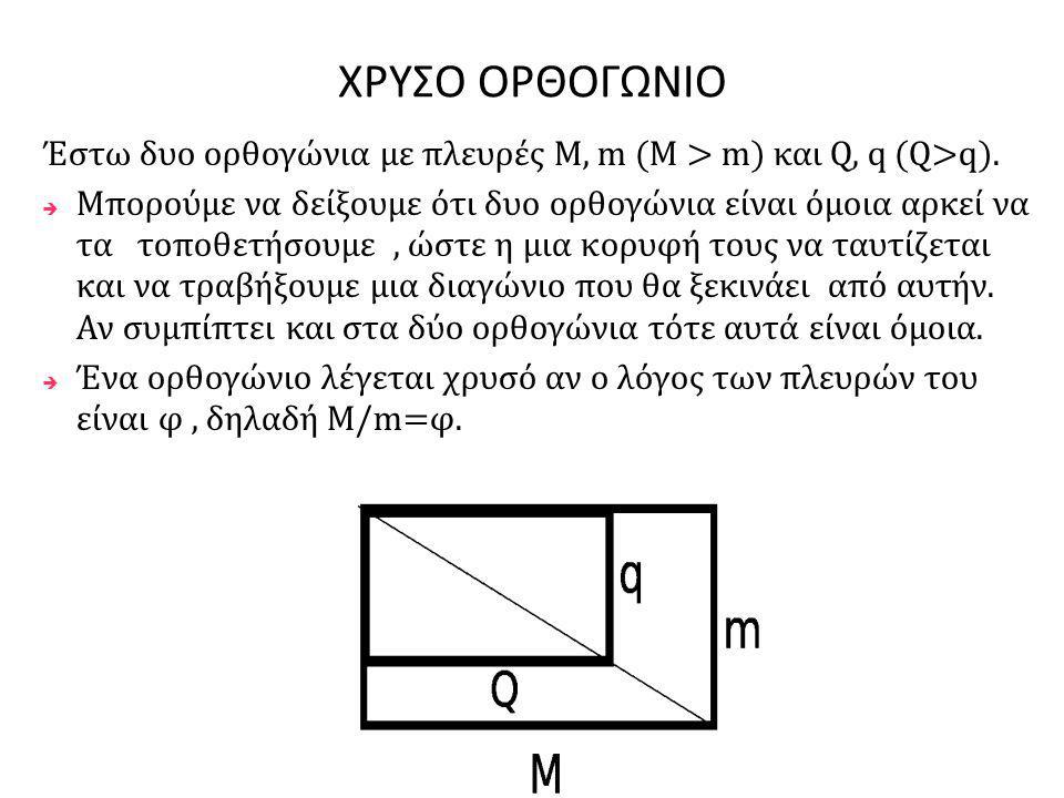 ΧΡΥΣΟ ΟΡΘΟΓΩΝΙΟ Έστω δυο ορθογώνια με πλευρές M, m (M > m) και Q, q (Q>q).