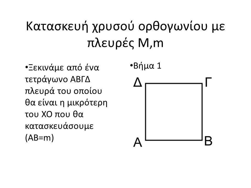 Κατασκευή χρυσού ορθογωνίου με πλευρές M,m Ξεκινάμε από ένα τετράγωνο ΑΒΓΔ πλευρά του οποίου θα είναι η μικρότερη του ΧΟ που θα κατασκευάσουμε (ΑΒ=m) Βήμα 1