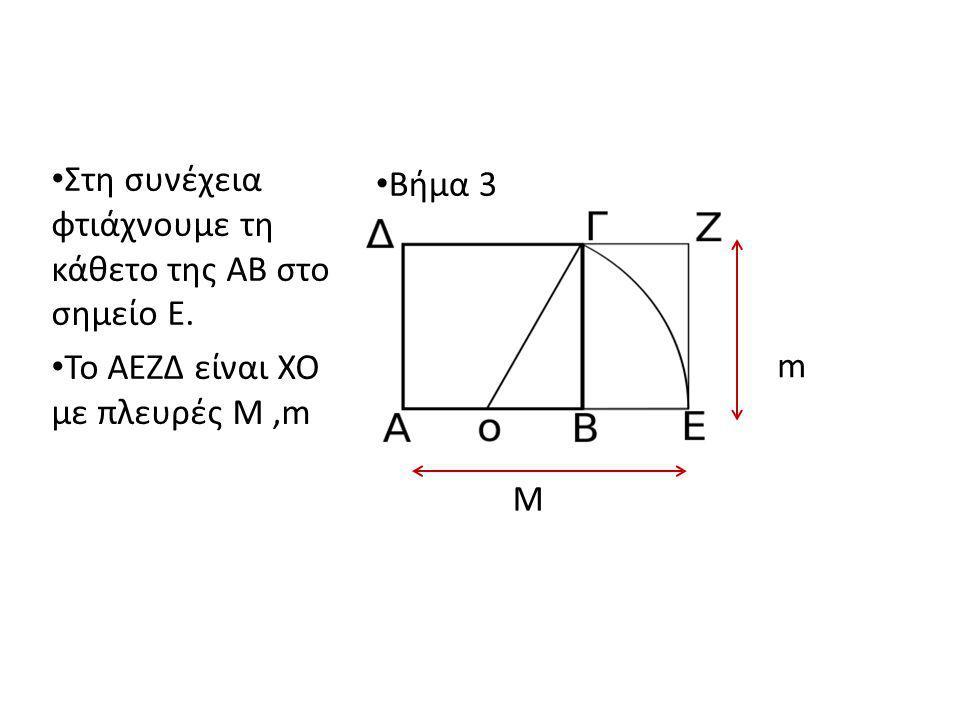 Στη συνέχεια φτιάχνουμε τη κάθετο της ΑΒ στο σημείο Ε. Το ΑΕΖΔ είναι ΧΟ με πλευρές M,m Βήμα 3 M m