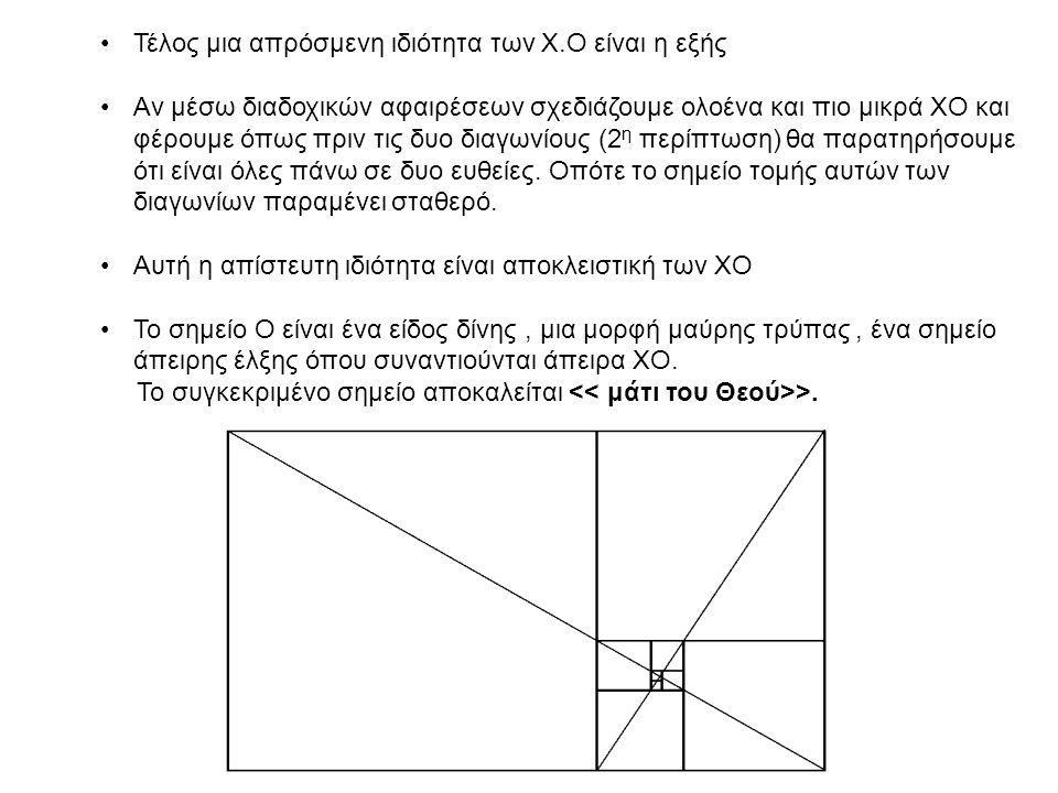 Τέλος μια απρόσμενη ιδιότητα των Χ.Ο είναι η εξής Αν μέσω διαδοχικών αφαιρέσεων σχεδιάζουμε ολοένα και πιο μικρά ΧΟ και φέρουμε όπως πριν τις δυο διαγωνίους (2 η περίπτωση) θα παρατηρήσουμε ότι είναι όλες πάνω σε δυο ευθείες.