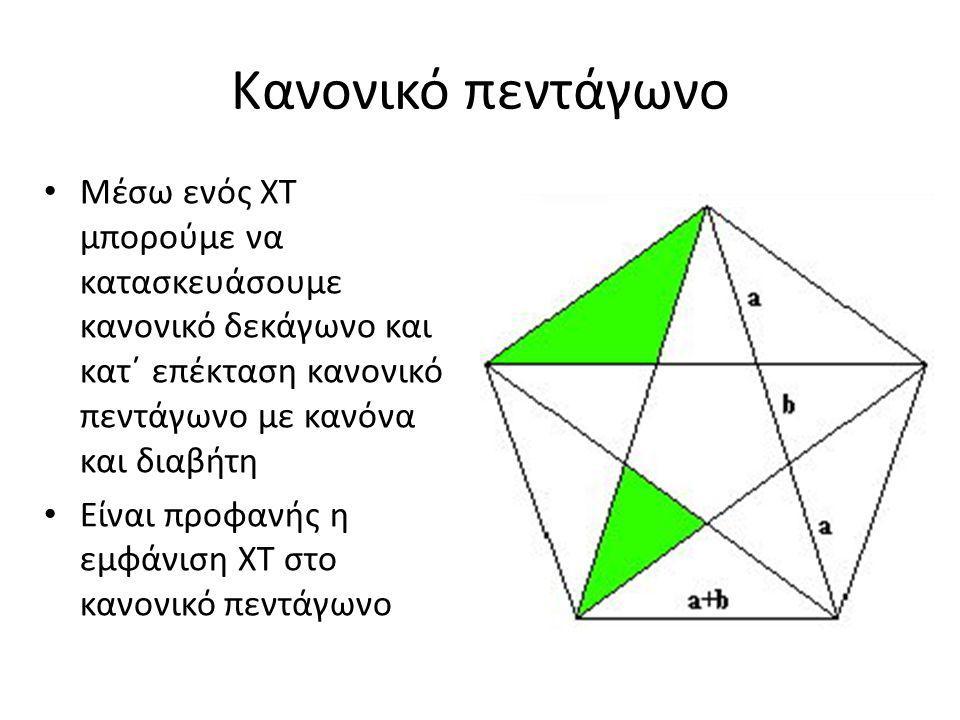 Κανονικό πεντάγωνο Μέσω ενός ΧΤ μπορούμε να κατασκευάσουμε κανονικό δεκάγωνο και κατ΄ επέκταση κανονικό πεντάγωνο με κανόνα και διαβήτη Είναι προφανής η εμφάνιση ΧΤ στο κανονικό πεντάγωνο