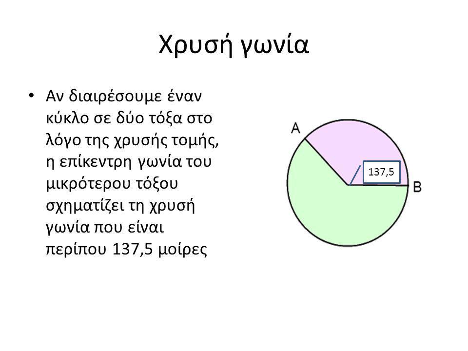 Χρυσή γωνία Αν διαιρέσουμε έναν κύκλο σε δύο τόξα στο λόγο της χρυσής τομής, η επίκεντρη γωνία του μικρότερου τόξου σχηματίζει τη χρυσή γωνία που είναι περίπου 137,5 μοίρες 137,5
