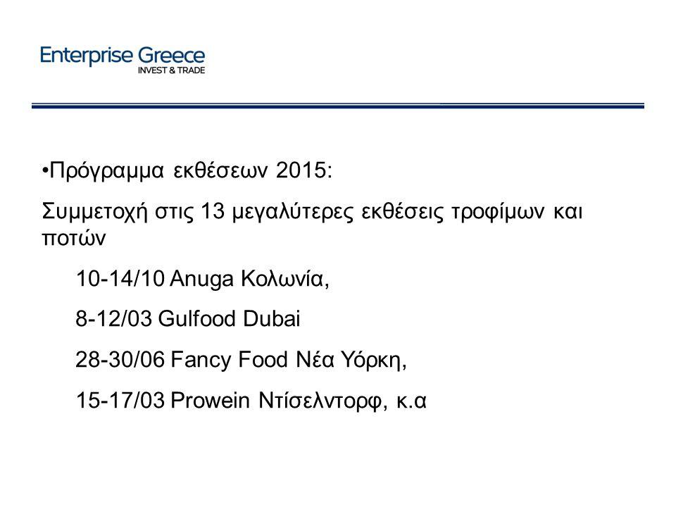 Πρόγραμμα εκθέσεων 2015: Συμμετοχή στις 13 μεγαλύτερες εκθέσεις τροφίμων και ποτών 10-14/10 Anuga Κολωνία, 8-12/03 Gulfood Dubai 28-30/06 Fancy Food Νέα Υόρκη, 15-17/03 Prowein Ντίσελντορφ, κ.α