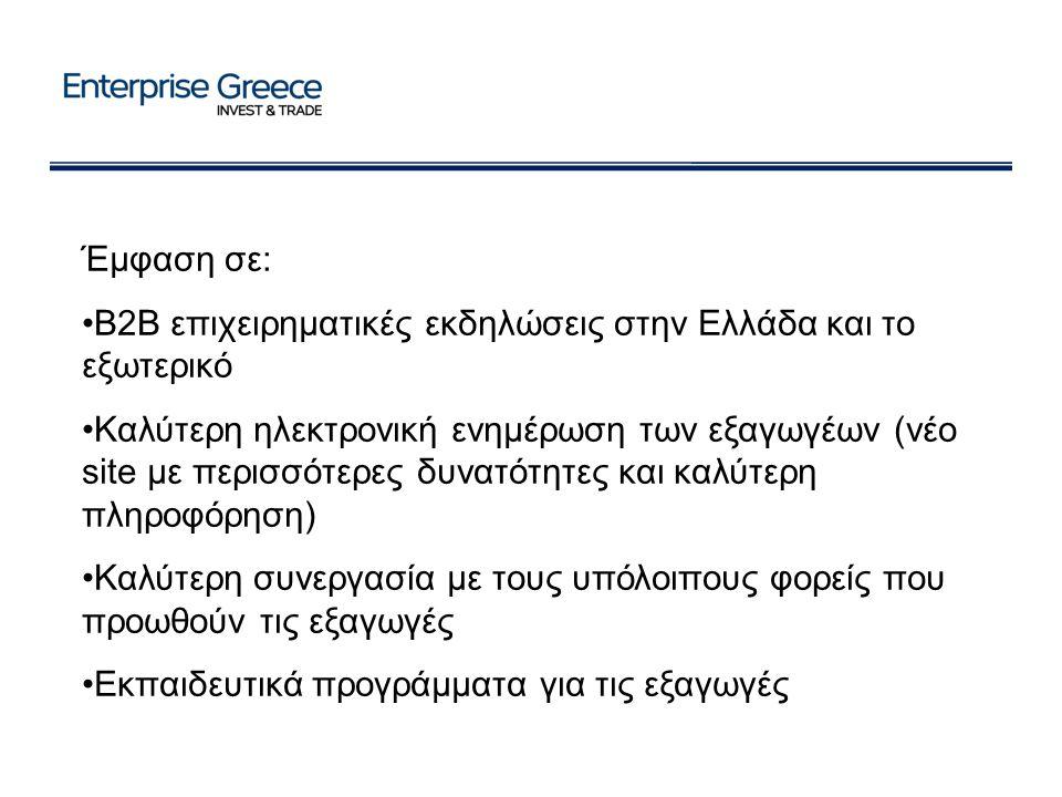 Έμφαση σε: B2B επιχειρηματικές εκδηλώσεις στην Ελλάδα και το εξωτερικό Καλύτερη ηλεκτρονική ενημέρωση των εξαγωγέων (νέο site με περισσότερες δυνατότητες και καλύτερη πληροφόρηση) Καλύτερη συνεργασία με τους υπόλοιπους φορείς που προωθούν τις εξαγωγές Εκπαιδευτικά προγράμματα για τις εξαγωγές
