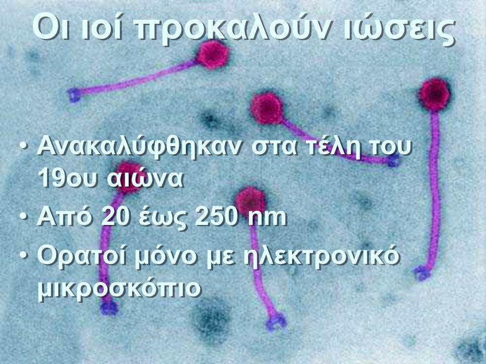 Οι ιοί προκαλούν ιώσεις Ανακαλύφθηκαν στα τέλη του 19ου αιώνα Από 20 έως 250 nm Ορατοί μόνο με ηλεκτρονικό μικροσκόπιο Ανακαλύφθηκαν στα τέλη του 19ου αιώνα Από 20 έως 250 nm Ορατοί μόνο με ηλεκτρονικό μικροσκόπιο