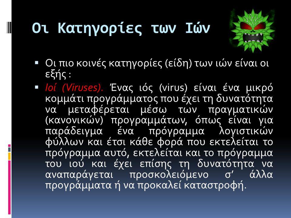 Οι Κατηγορίες των Ιών  Οι πιο κοινές κατηγορίες (είδη) των ιών είναι οι εξής :  Ιοί (Viruses).