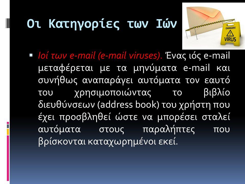 Οι Κατηγορίες των Ιών  Ιοί των e-mail (e-mail viruses).