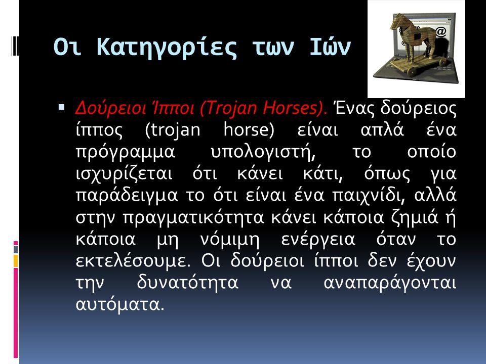 Οι Κατηγορίες των Ιών  Δούρειοι Ίπποι (Trojan Horses).