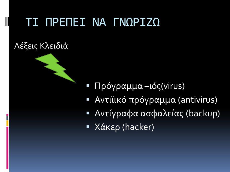 ΤΙ ΠΡΕΠΕΙ ΝΑ ΓΝΩΡΙΖΩ  Πρόγραμμα –ιός(virus)  Αντιϊικό πρόγραμμα (antivirus)  Αντίγραφα ασφαλείας (backup)  Χάκερ (hacker) Λέξεις Κλειδιά