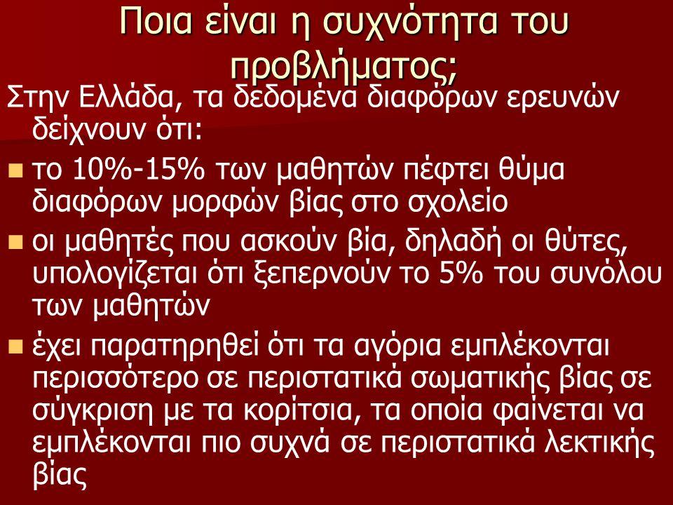 Ποια είναι η συχνότητα του προβλήματος; Στην Ελλάδα, τα δεδομένα διαφόρων ερευνών δείχνουν ότι: το 10%-15% των μαθητών πέφτει θύμα διαφόρων μορφών βίας στο σχολείο οι μαθητές που ασκούν βία, δηλαδή οι θύτες, υπολογίζεται ότι ξεπερνούν το 5% του συνόλου των μαθητών έχει παρατηρηθεί ότι τα αγόρια εμπλέκονται περισσότερο σε περιστατικά σωματικής βίας σε σύγκριση με τα κορίτσια, τα οποία φαίνεται να εμπλέκονται πιο συχνά σε περιστατικά λεκτικής βίας