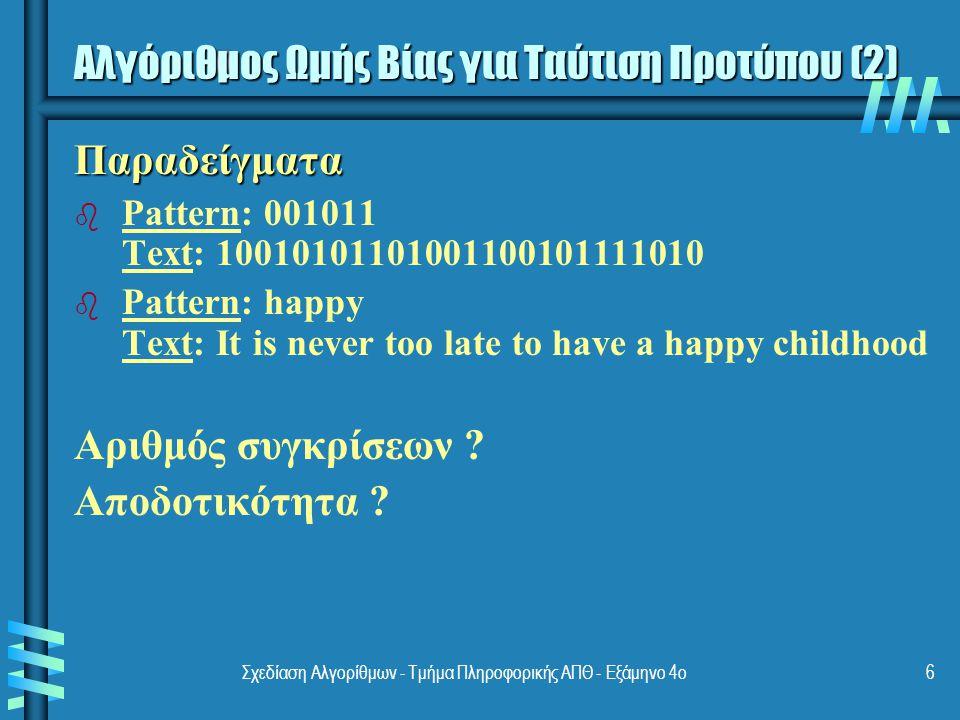 Σχεδίαση Αλγορίθμων - Τμήμα Πληροφορικής ΑΠΘ - Εξάμηνο 4ο6 Παραδείγματα b b Pattern: 001011 Text: 10010101101001100101111010 b b Pattern: happy Text: It is never too late to have a happy childhood Αριθμός συγκρίσεων .