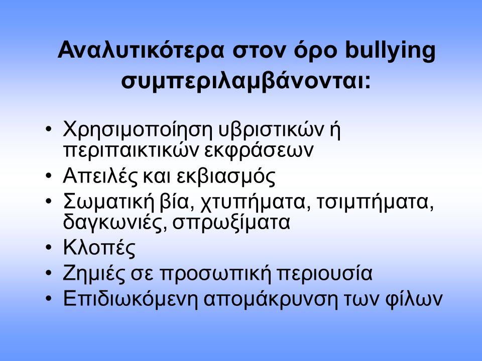 Χρησιμοποίηση υβριστικών ή περιπαικτικών εκφράσεων Απειλές και εκβιασμός Σωματική βία, χτυπήματα, τσιμπήματα, δαγκωνιές, σπρωξίματα Κλοπές Ζημιές σε π