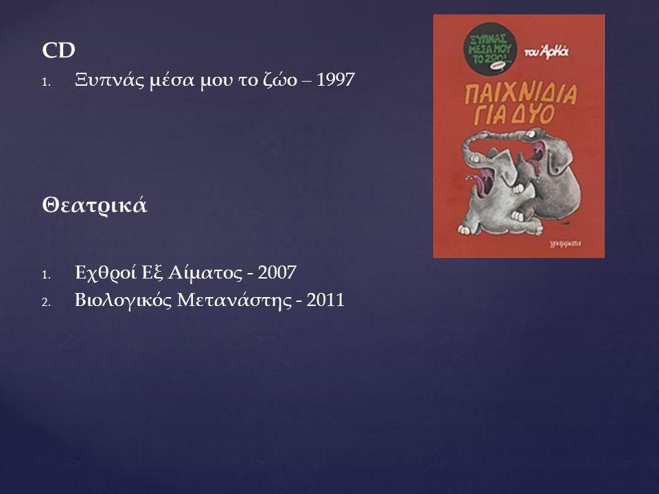 CD 1. 1. Ξυπνάς μέσα μου το ζώο – 1997 Θεατρικά 1. 1. Εχθροί Εξ Αίματος - 2007 2. 2. Βιολογικός Μετανάστης - 2011