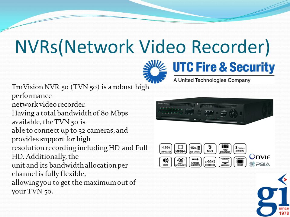 NVRs(Network Video Recorder) TruVision NVR 50 (TVN 50) is a robust high performance network video recorder. Having a total bandwidth of 80 Mbps availa