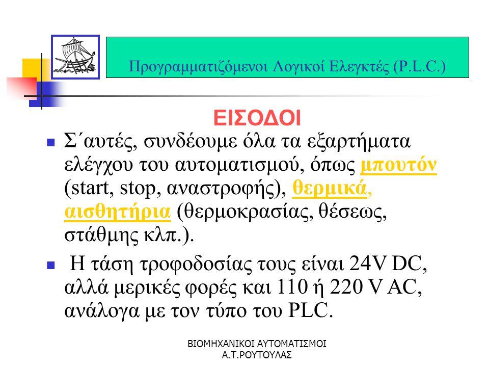 ΒΙΟΜΗΧΑΝΙΚΟΙ ΑΥΤΟΜΑΤΙΣΜΟΙ Α.Τ.ΡΟΥΤΟΥΛΑΣ Σύστημα αυτοματισμού S7-200 Στοιχεία χειρισμού και ενδείξεων P.L.C.