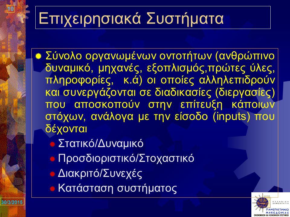10 30/3/2015 Επιχειρησιακά Συστήματα  Σύνολο οργανωμένων οντοτήτων (ανθρώπινο δυναμικό, μηχανές, εξοπλισμός,πρώτες ύλες, πληροφορίες, κ.ά) οι οποίες αλληλεπιδρούν και συνεργάζονται σε διαδικασίες (διεργασίες) που αποσκοπούν στην επίτευξη κάποιων στόχων, ανάλογα με την είσοδο (inputs) που δέχονται  Στατικό/Δυναμικό  Προσδιοριστικό/Στοχαστικό  Διακριτό/Συνεχές  Κατάσταση συστήματος