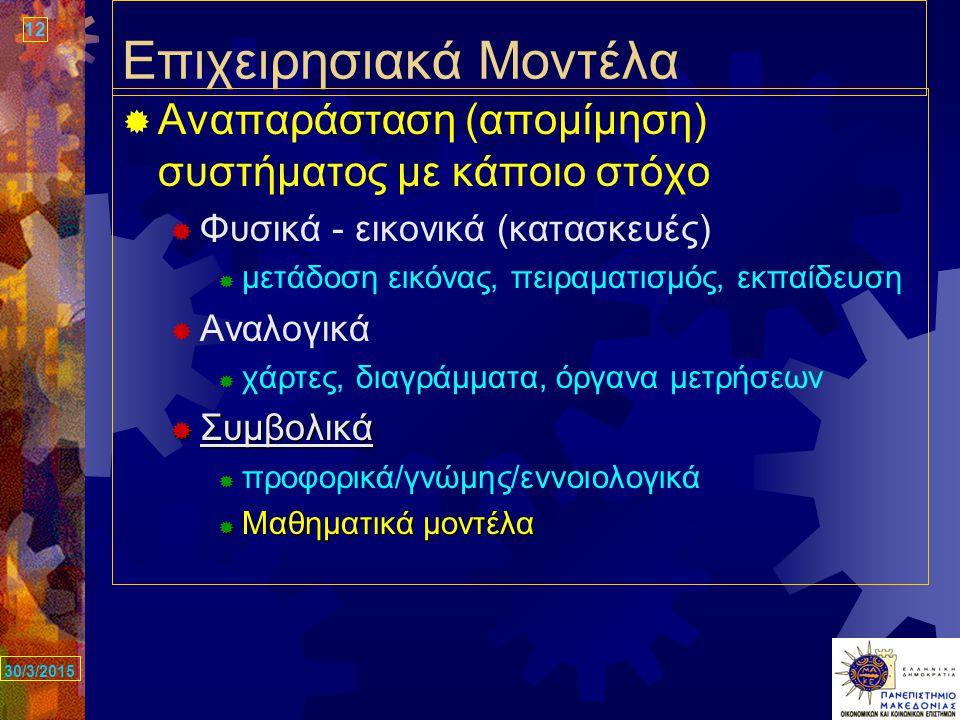 12 30/3/2015 Επιχειρησιακά Μοντέλα  Αναπαράσταση (απομίμηση) συστήματος με κάποιο στόχο  Φυσικά - εικονικά (κατασκευές)  μετάδοση εικόνας, πειραματισμός, εκπαίδευση  Αναλογικά  χάρτες, διαγράμματα, όργανα μετρήσεων  Συμβολικά  προφορικά/γνώμης/εννοιολογικά  Μαθηματικά μοντέλα