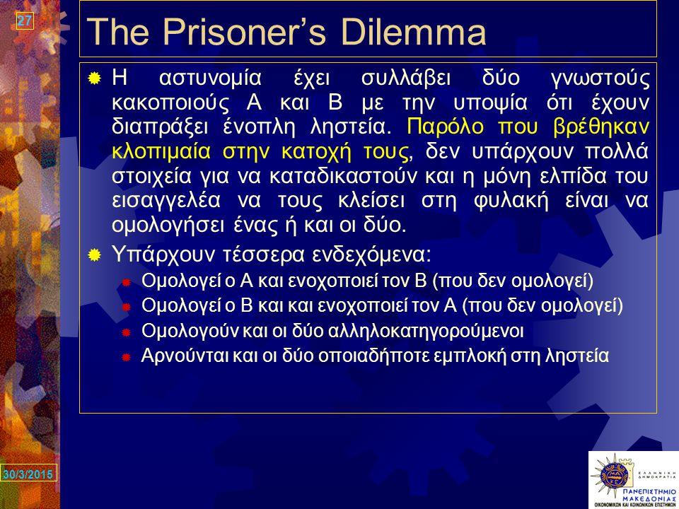 27 30/3/2015 The Prisoner's Dilemma  Η αστυνομία έχει συλλάβει δύο γνωστούς κακοποιούς Α και Β με την υποψία ότι έχουν διαπράξει ένοπλη ληστεία.