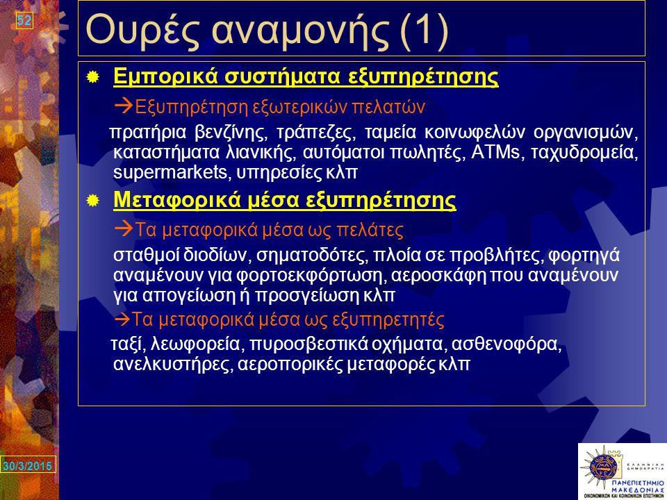 52 30/3/2015 Ουρές αναμονής (1)  Εμπορικά συστήματα εξυπηρέτησης  Εξυπηρέτηση εξωτερικών πελατών πρατήρια βενζίνης, τράπεζες, ταμεία κοινωφελών οργανισμών, καταστήματα λιανικής, αυτόματοι πωλητές, ΑΤΜs, ταχυδρομεία, supermarkets, υπηρεσίες κλπ  Μεταφορικά μέσα εξυπηρέτησης  Τα μεταφορικά μέσα ως πελάτες σταθμοί διοδίων, σηματοδότες, πλοία σε προβλήτες, φορτηγά αναμένουν για φορτοεκφόρτωση, αεροσκάφη που αναμένουν για απογείωση ή προσγείωση κλπ  Τα μεταφορικά μέσα ως εξυπηρετητές ταξί, λεωφορεία, πυροσβεστικά οχήματα, ασθενοφόρα, ανελκυστήρες, αεροπορικές μεταφορές κλπ