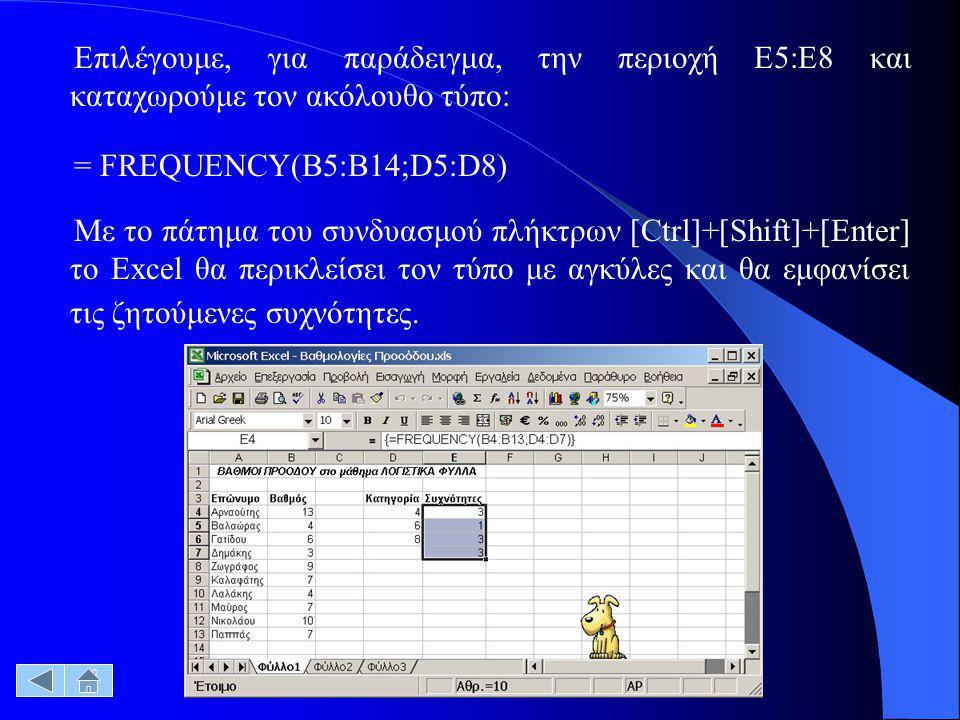 Επιλέγουμε, για παράδειγμα, την περιοχή Ε5:E8 και καταχωρούμε τον ακόλουθο τύπο: = FREQUENCY(B5:B14;D5:D8) Με το πάτημα του συνδυασμού πλήκτρων [Ctrl]+[Shift]+[Enter] το Excel θα περικλείσει τον τύπο με αγκύλες και θα εμφανίσει τις ζητούμενες συχνότητες.