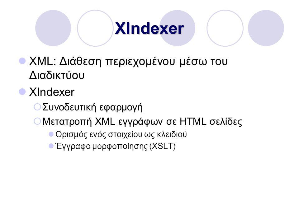 XIndexer XML: Διάθεση περιεχομένου μέσω του Διαδικτύου XIndexer  Συνοδευτική εφαρμογή  Μετατροπή XML εγγράφων σε HTML σελίδες Ορισμός ενός στοιχείου ως κλειδιού Έγγραφο μορφοποίησης (XSLT)