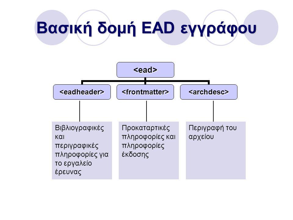 Βασική δομή EAD εγγράφου Βιβλιογραφικές και περιγραφικές πληροφορίες για το εργαλείο έρευνας Προκαταρτικές πληροφορίες και πληροφορίες έκδοσης Περιγραφή του αρχείου