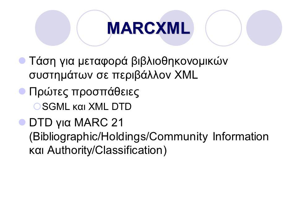 MARCXML Τάση για μεταφορά βιβλιοθηκονομικών συστημάτων σε περιβάλλον XML Πρώτες προσπάθειες  SGML και XML DTD DTD για MARC 21 (Bibliographic/Holdings/Community Information και Authority/Classification)