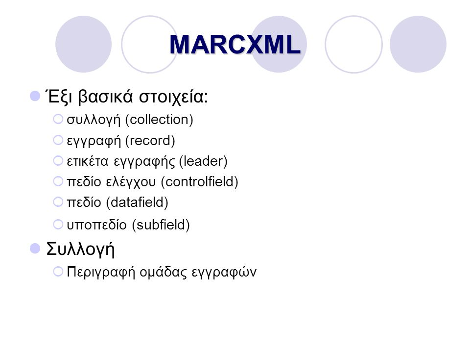 MARCXML Έξι βασικά στοιχεία:  συλλογή (collection)  εγγραφή (record)  ετικέτα εγγραφής (leader)  πεδίο ελέγχου (controlfield)  πεδίο (datafield)  υποπεδίο (subfield) Συλλογή  Περιγραφή ομάδας εγγραφών