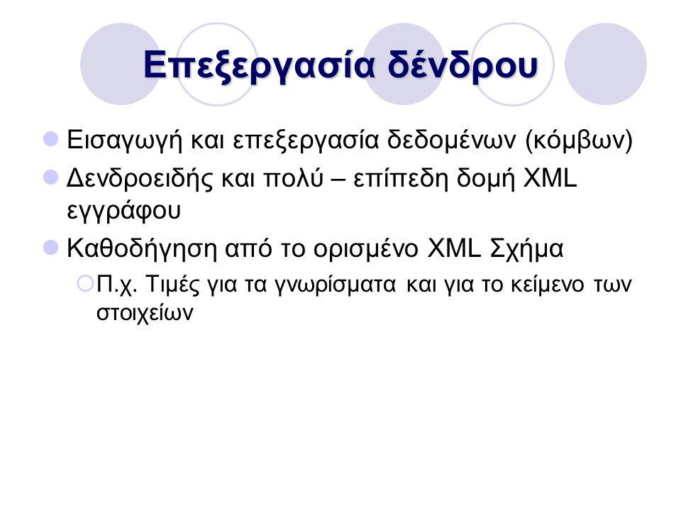 Επεξεργασία δένδρου Εισαγωγή και επεξεργασία δεδομένων (κόμβων) Δενδροειδής και πολύ – επίπεδη δομή XML εγγράφου Καθοδήγηση από το ορισμένο XML Σχήμα  Π.χ.