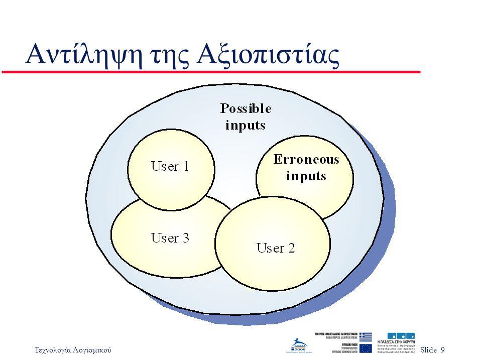 Τεχνολογία ΛογισμικούSlide 9 Αντίληψη της Αξιοπιστίας
