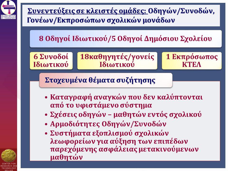 Συνεντεύξεις σε κλειστές ομάδες: Οδηγών/Συνοδών, Γονέων/Εκπροσώπων σχολικών μονάδων 8 Οδηγοί Ιδιωτικού/5 Οδηγοί Δημόσιου Σχολείου 6 Συνοδοί Ιδιωτικού 18καθηγητές/γονείς Ιδιωτικού 1 Εκπρόσωπος ΚΤΕΛ Καταγραφή αναγκών που δεν καλύπτονται από το υφιστάμενο σύστημα Σχέσεις οδηγών – μαθητών εντός σχολικού Αρμοδιότητες Οδηγών/Συνοδών Συστήματα εξοπλισμού σχολικών λεωφορείων για αύξηση των επιπέδων παρεχόμενης ασφάλειας μετακινούμενων μαθητών Στοχευμένα θέματα συζήτησης