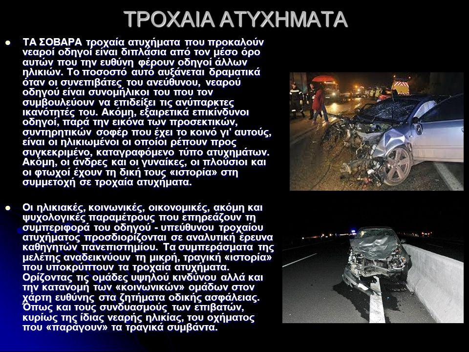 ΤΡΟΧΑΙΑ ΑΤΥΧΗΜΑΤΑ ΤΑ ΣΟΒΑΡΑ τροχαία ατυχήματα που προκαλούν νεαροί οδηγοί είναι διπλάσια από τον μέσο όρο αυτών που την ευθύνη φέρουν οδηγοί άλλων ηλικιών.