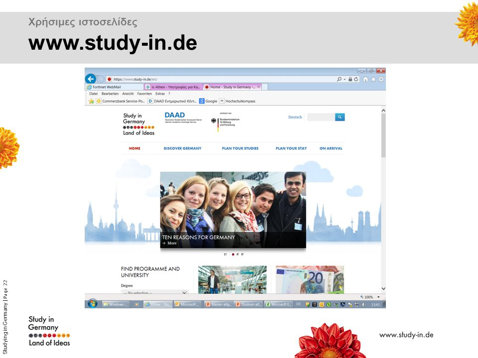 Studying in Germany | Page 22 Χρήσιμες ιστοσελίδες www.study-in.de