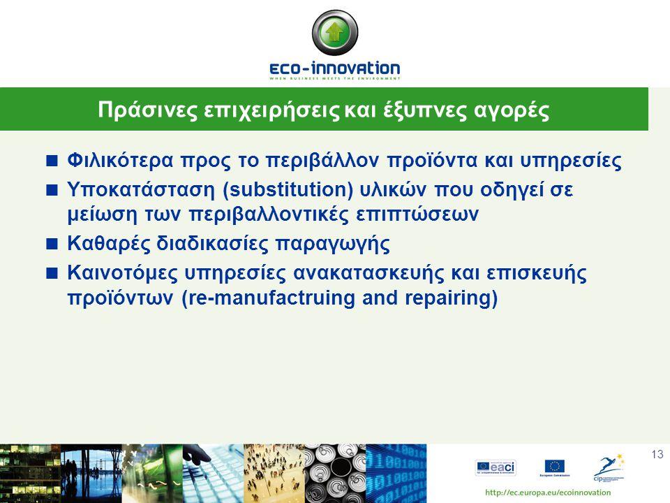 13 Πράσινες επιχειρήσεις και έξυπνες αγορές  Φιλικότερα προς το περιβάλλον προϊόντα και υπηρεσίες  Υποκατάσταση (substitution) υλικών που οδηγεί σε μείωση των περιβαλλοντικές επιπτώσεων  Καθαρές διαδικασίες παραγωγής  Καινοτόμες υπηρεσίες ανακατασκευής και επισκευής προϊόντων (re-manufactruing and repairing)