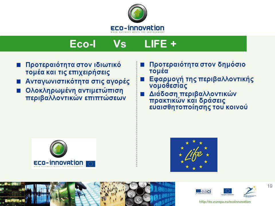 19 Eco-I Vs LIFE +  Προτεραιότητα στον ιδιωτικό τομέα και τις επιχειρήσεις  Ανταγωνιστικότητα στις αγορές  Ολοκληρωμένη αντιμετώπιση περιβαλλοντικών επιπτώσεων  Προτεραιότητα στον δημόσιο τομέα  Εφαρμογή της περιβαλλοντικής νομοθεσίας  Διάδοση περιβαλλοντικών πρακτικών και δράσεις ευαισθητοποίησης του κοινού 19