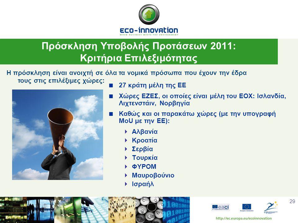 29  27 κράτη μέλη της ΕΕ  Χώρες ΕΖΕΣ, οι οποίες είναι μέλη του ΕΟΧ: Ισλανδία, Λιχτενστάιν, Νορβηγία  Καθώς και οι παρακάτω χώρες (με την υπογραφή MoU με την ΕΕ):  Αλβανία  Κροατία  Σερβία  Τουρκία  ΦΥΡΟΜ  Μαυροβούνιο  Ισραήλ Πρόσκληση Υποβολής Προτάσεων 2011: Κριτήρια Επιλεξιμότητας Η πρόσκληση είναι ανοιχτή σε όλα τα νομικά πρόσωπα που έχουν την έδρα τους στις επιλέξιμες χώρες: