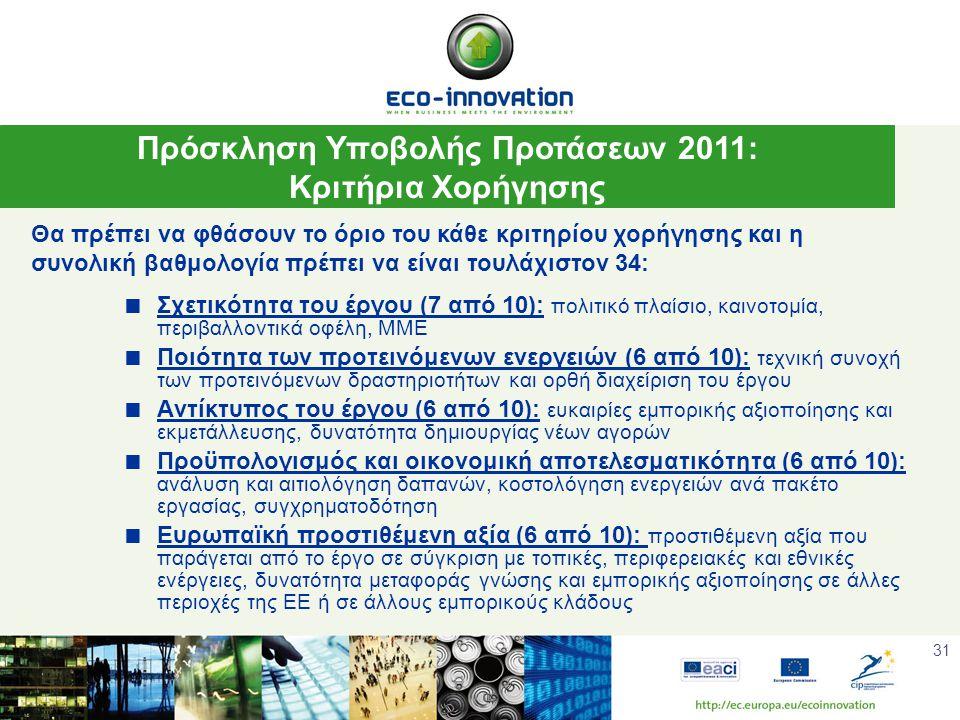 31  Σχετικότητα του έργου (7 από 10): πολιτικό πλαίσιο, καινοτομία, περιβαλλοντικά οφέλη, ΜΜΕ  Ποιότητα των προτεινόμενων ενεργειών (6 από 10): τεχνική συνοχή των προτεινόμενων δραστηριοτήτων και ορθή διαχείριση του έργου  Αντίκτυπος του έργου (6 από 10): ευκαιρίες εμπορικής αξιοποίησης και εκμετάλλευσης, δυνατότητα δημιουργίας νέων αγορών  Προϋπολογισμός και οικονομική αποτελεσματικότητα (6 από 10): ανάλυση και αιτιολόγηση δαπανών, κοστολόγηση ενεργειών ανά πακέτο εργασίας, συγχρηματοδότηση  Ευρωπαϊκή προστιθέμενη αξία (6 από 10): προστιθέμενη αξία που παράγεται από το έργο σε σύγκριση με τοπικές, περιφερειακές και εθνικές ενέργειες, δυνατότητα μεταφοράς γνώσης και εμπορικής αξιοποίησης σε άλλες περιοχές της ΕΕ ή σε άλλους εμπορικούς κλάδους Πρόσκληση Υποβολής Προτάσεων 2011: Κριτήρια Χορήγησης Θα πρέπει να φθάσουν το όριο του κάθε κριτηρίου χορήγησης και η συνολική βαθμολογία πρέπει να είναι τουλάχιστον 34: