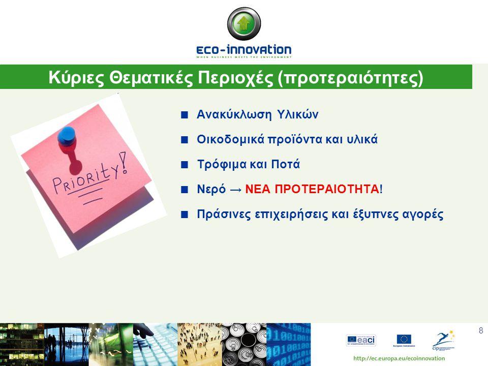 8  Ανακύκλωση Υλικών  Οικοδομικά προϊόντα και υλικά  Τρόφιμα και Ποτά  Νερό → ΝΕΑ ΠΡΟΤΕΡΑΙΟΤΗΤΑ.