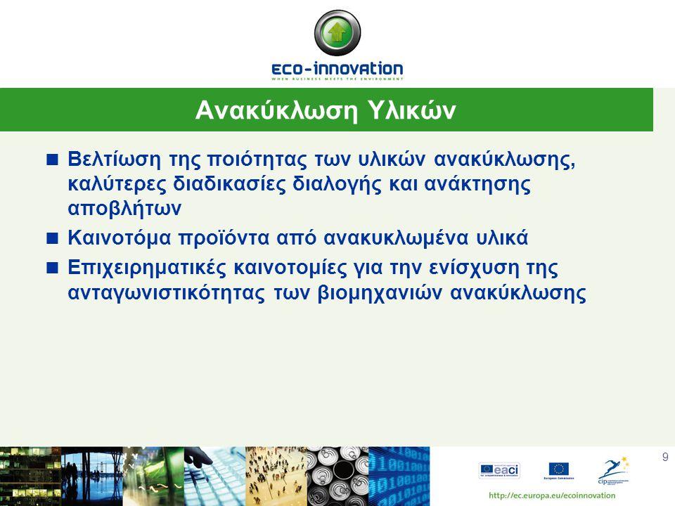 9 Ανακύκλωση Υλικών  Βελτίωση της ποιότητας των υλικών ανακύκλωσης, καλύτερες διαδικασίες διαλογής και ανάκτησης αποβλήτων  Καινοτόμα προϊόντα από ανακυκλωμένα υλικά  Επιχειρηματικές καινοτομίες για την ενίσχυση της ανταγωνιστικότητας των βιομηχανιών ανακύκλωσης