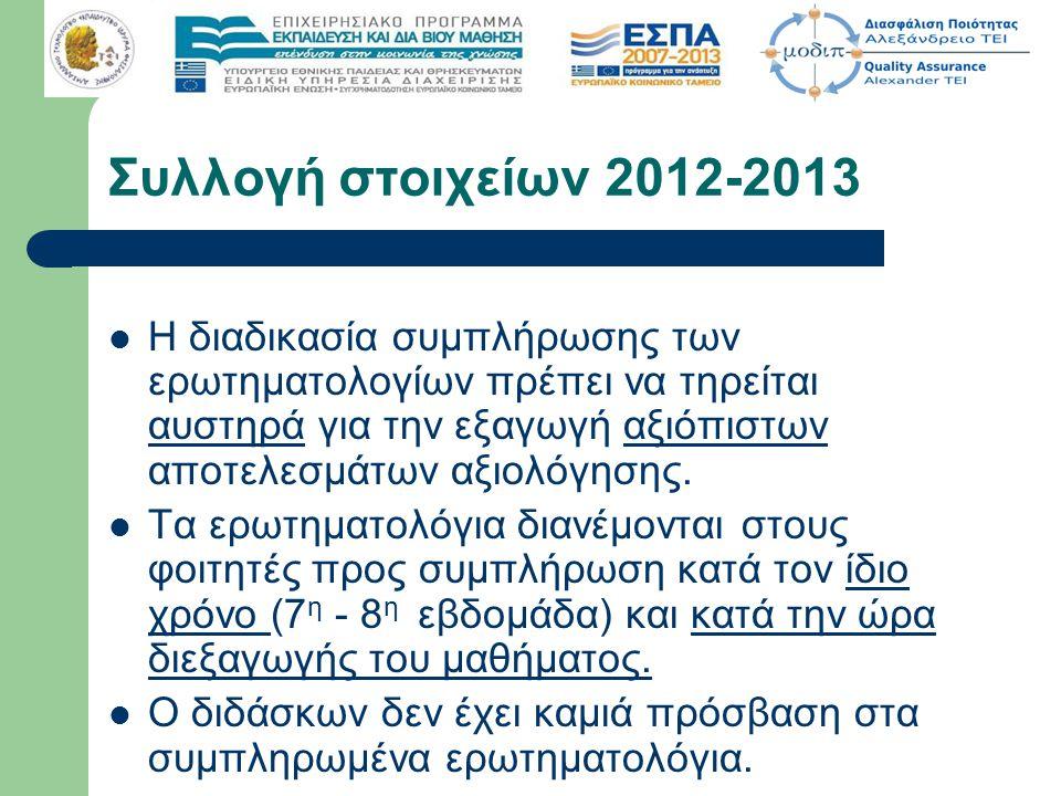 Χρονική προθεσμία συμπλήρωσης 30 -11-2012 Ηλεκτρονική συμπλήρωση για 2011- 2012