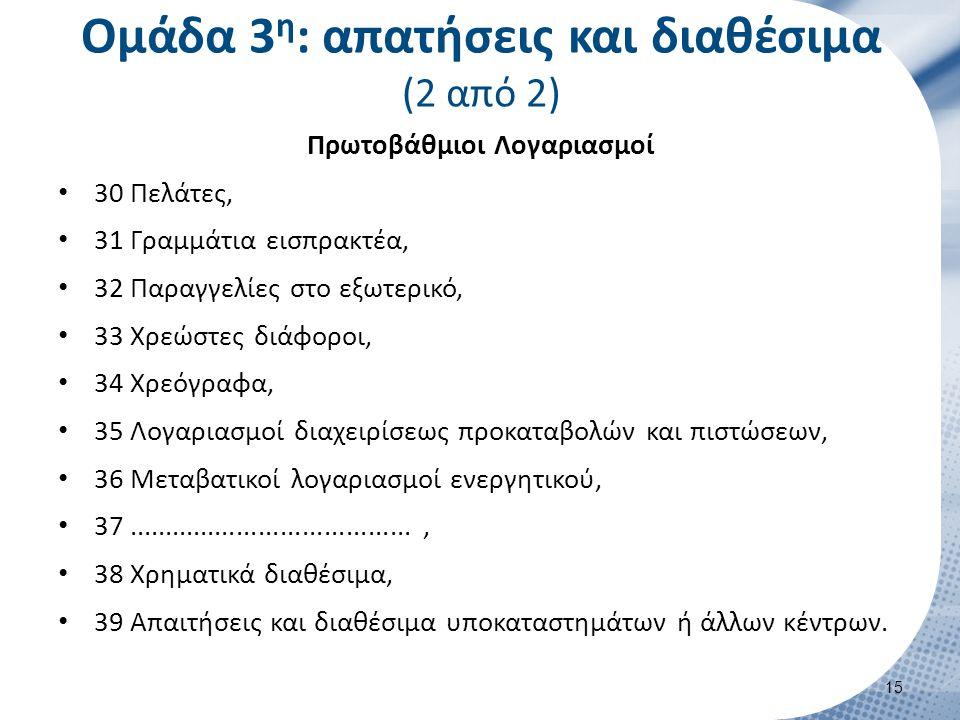 Ομάδα 3 η : απατήσεις και διαθέσιμα (2 από 2) Πρωτοβάθμιοι Λογαριασμοί 30 Πελάτες, 31 Γραμμάτια εισπρακτέα, 32 Παραγγελίες στο εξωτερικό, 33 Χρεώστες