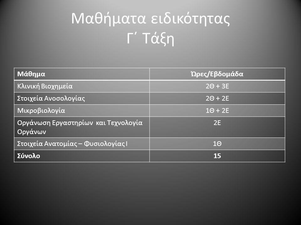 Μαθήματα ειδικότητας Γ΄ Τάξη ΜάθημαΏρες/Εβδομάδα Κλινική Βιοχημεία2Θ + 3Ε Στοιχεία Ανοσολογίας2Θ + 2Ε Μικροβιολογία1Θ + 2Ε Οργάνωση Εργαστηρίων και Τε
