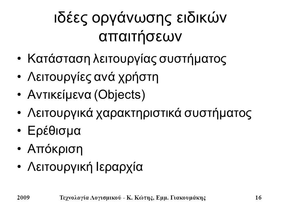 2009Τεχνολογία Λογισμικού - Κ. Κώτης, Εμμ. Γιακουμάκης 16 ιδέες οργάνωσης ειδικών απαιτήσεων Κατάσταση λειτουργίας συστήματος Λειτουργίες ανά χρήστη Α